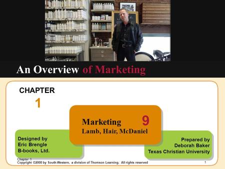Insert Chapter Picture Here Copyright ©2008 by South-Western, a division of Thomson Learning. All rights reserved Chapter 1 1 Designed by Eric Brengle.