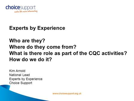 Www.choicesupport.org.uk Experts by Experience Who are they? Where do they come from? What is there role as part of the CQC activities? How do we do it?
