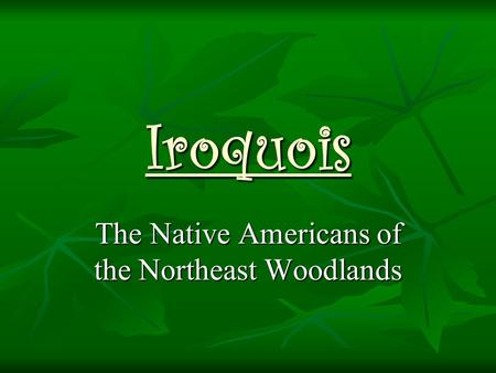 Iroquois The Native Americans of the Northeast Woodlands.