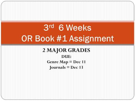 2 MAJOR GRADES DUE: Genre Map = Dec 11 Journals = Dec 13 3 rd 6 Weeks OR Book #1 Assignment.
