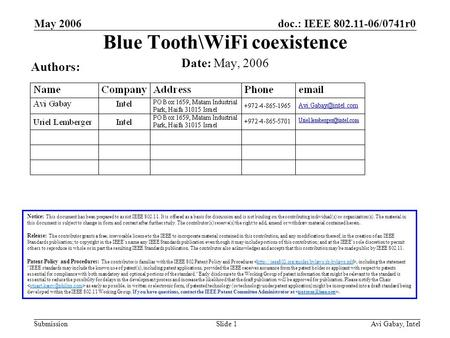Doc.: IEEE 802.11-06/0741r0 Submission May 2006 Avi Gabay, IntelSlide 1 Blue Tooth\WiFi coexistence Notice: This document has been prepared to assist IEEE.