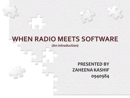 INTRODUCTION : Since its introduction in 1991, SDR (Software-defined Radio) has been defined as a radio platform of which the functionality is at.