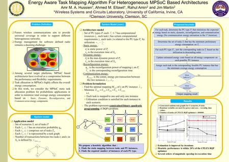 Energy Aware Task Mapping Algorithm For Heterogeneous MPSoC Based Architectures Amr M. A. Hussien¹, Ahmed M. Eltawil¹, Rahul Amin 2 and Jim Martin 2 ¹Wireless.