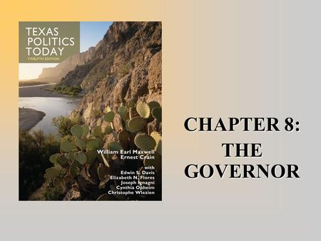 CHAPTER 8: THE GOVERNOR. Current Texas Governor  Rick Perry (a Republican), was sworn in as Texas' 47th governor on December 21, 2000. He was elected.