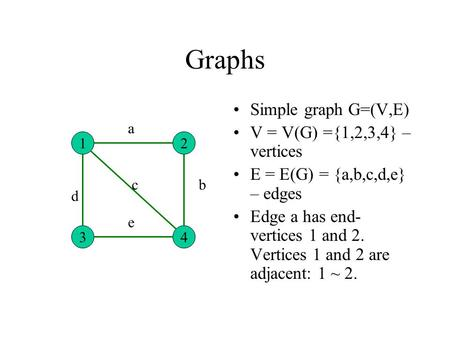 Graphs Simple graph G=(V,E) V = V(G) ={1,2,3,4} – vertices E = E(G) = {a,b,c,d,e} – edges Edge a has end- vertices 1 and 2. Vertices 1 and 2 are adjacent: