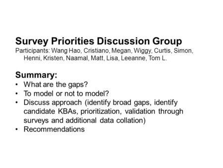 Survey Priorities Discussion Group Participants: Wang Hao, Cristiano, Megan, Wiggy, Curtis, Simon, Henni, Kristen, Naamal, Matt, Lisa, Leeanne, Tom L.