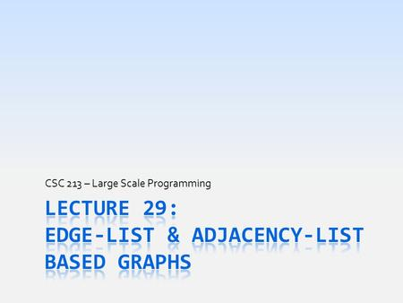 CSC 213 – Large Scale Programming. Today's Goals  Briefly review graphs and vital graph terms  Begin discussion of how to implement Graph  Vertex &