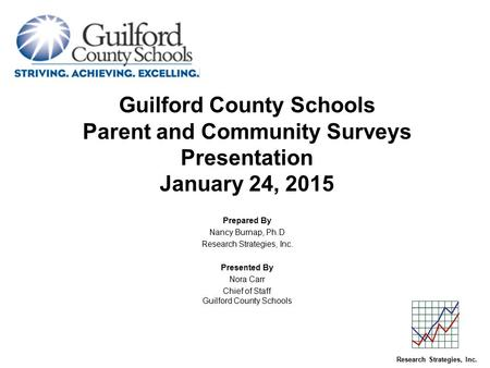 Guilford County Schools Parent and Community Surveys Presentation January 24, 2015 Prepared By Nancy Burnap, Ph.D Research Strategies, Inc. Presented By.