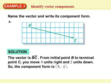 EXAMPLE 3 Identify vector components Name the vector and write its component form. SOLUTION The vector is BC. From initial point B to terminal point C,