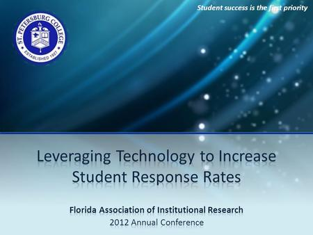 Student success is the first priority. Increasing Student Response Rates Presenters  Magaly Tymms, Associate Director, Academic Effectiveness and Assessment.