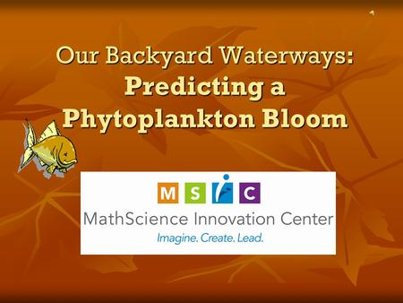 Our Backyard Waterways: Predicting a Phytoplankton Bloom.