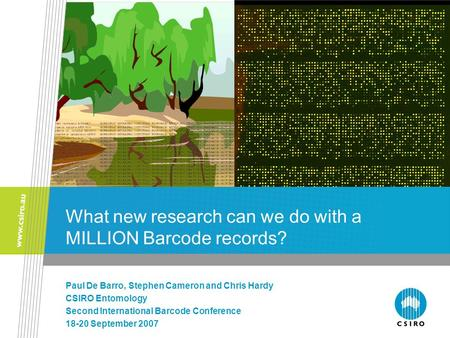 What new research can we do with a MILLION Barcode records? Paul De Barro, Stephen Cameron and Chris Hardy CSIRO Entomology Second International Barcode.
