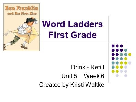 Word Ladders First Grade Drink - Refill Unit 5 Week 6 Created by Kristi Waltke.