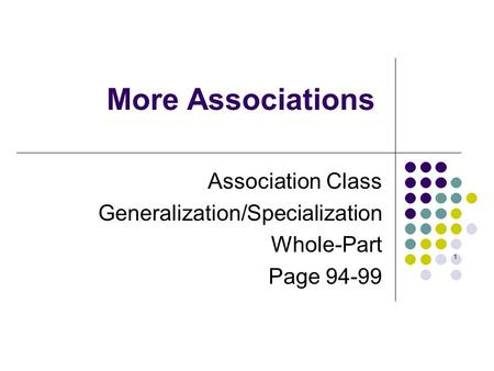 Association <strong>Class</strong> Generalization/Specialization Whole-Part Page 94-99 More Associations 1.