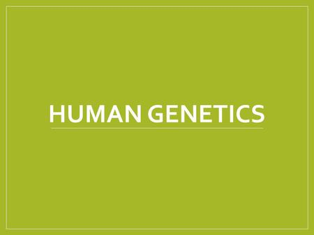 HUMAN GENETICS. Objectives 2. Discuss the relationships among chromosomes, genes, and DNA. 2.8 Examine incomplete dominance, alleles, sex determination,