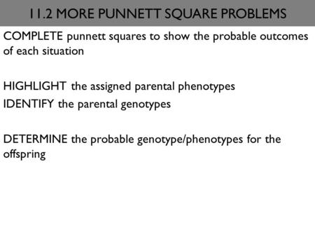 11.2 MORE PUNNETT SQUARE PROBLEMS COMPLETE punnett squares to show the probable outcomes of each situation HIGHLIGHT the assigned parental phenotypes IDENTIFY.