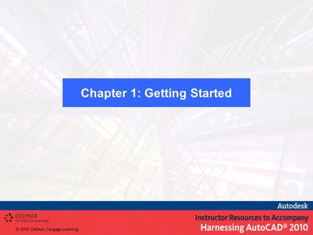 Chapter 1: Getting Started. Start AutoCAD Identify the various parts on the screen Use various methods of command and data inputUse various methods of.