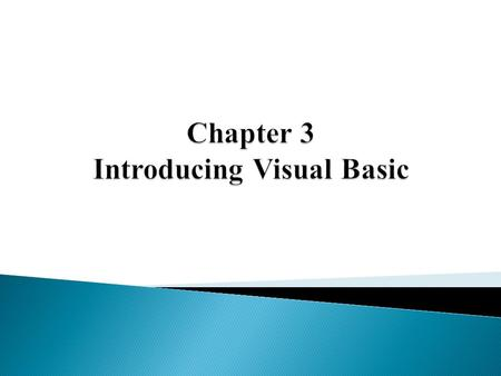 Chapter 3 Introducing Visual Basic