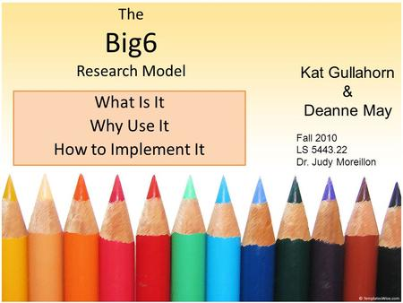 The Big6 Research Model What Is It Why Use It How to Implement It Kat Gullahorn & Deanne May Fall 2010 LS 5443.22 Dr. Judy Moreillon.