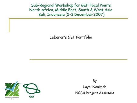 Sub-Regional Workshop for GEF Focal Points North Africa, Middle East, South & West Asia Bali, Indonesia2-3 December 2007) Sub-Regional Workshop for GEF.