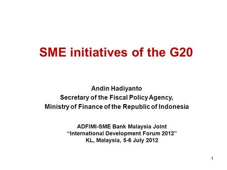 SME initiatives of the G20