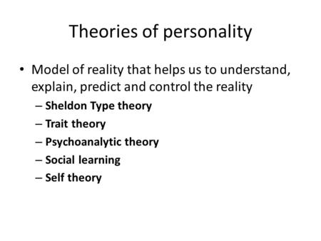 A Theory of Personality Change
