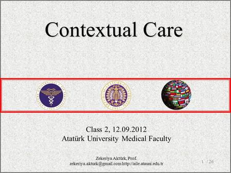 / 261 Class 2, 12.09.2012 Atatürk University Medical Faculty Contextual Care Zekeriya Aktürk, Prof.