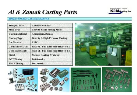 Al & Zamak Casting Parts Al & Zamak Casting Parts KOREAN SOURCING BUSINESS SERVICE Stamped PartsAutomotive Parts Mold TypeGravity & Die-casting Molds Casting.