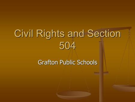 Civil Rights and Section 504