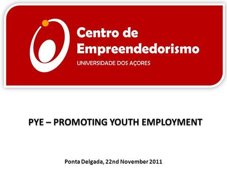 PYE – PROMOTING YOUTH EMPLOYMENT Ponta Delgada, 22nd November 2011.