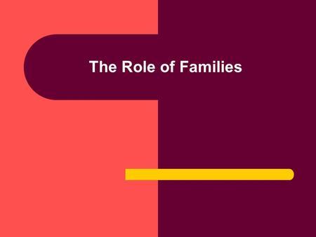 The Role of Families. Why Study Families Terms to Know: adoptive families, blended families, extended families, foster families, nuclear families, nurture,