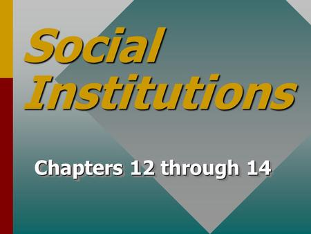 Social Institutions Chapters 12 through 14. Social Institutions TraditionTradition TodayToday.