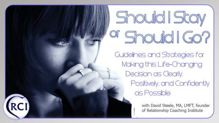 Now available on Amazon.com or www.ShouldIStayBook.com.