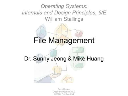 File Management Dave Bremer Otago Polytechnic, N.Z. ©2008, Prentice Hall Dr. Sunny Jeong & Mike Huang Operating Systems: Internals and Design Principles,
