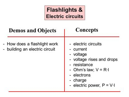 Flashlights & Electric circuits - How does a flashlight work - building an electric circuit - electric circuits - current - voltage - voltage rises and.