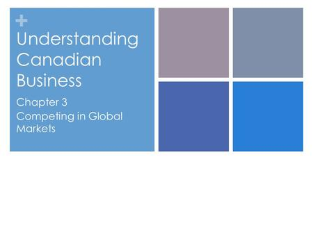 + Understanding Canadian Business Chapter 3 Competing in Global Markets.