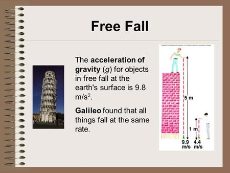 Free Fall The acceleration of gravity (g) for objects in free fall at the earth's surface is 9.8 m/s2. Galileo found that all things fall at the same rate.