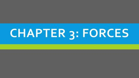 CHAPTER 3: FORCES. SECTION 1 (PART 1) - Introduction to Forces and Newton's 2 nd Law Of Motion.