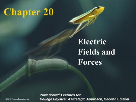 © 2010 Pearson Education, Inc. PowerPoint ® Lectures for College Physics: A Strategic Approach, Second Edition Chapter 20 Electric Fields and Forces.