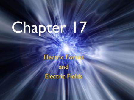 Chapter 17 Electric Forces and Electric Fields. Chapter 17 Objectives Properties of electric charges Conductor vs Insulator Conduction vs Induction Polarization.