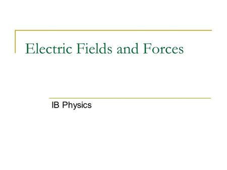 "Electric Fields and Forces IB Physics. Electric Charge ""Charge"" is a property of subatomic particles. Facts about charge: There are 2 types: positive."