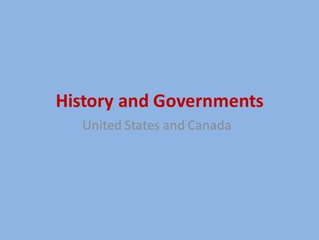 History and Governments