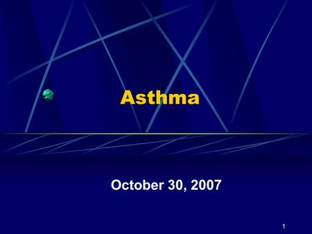 1 Asthma October 30, 2007. Weiss, Gergen, & Hodgson (1992)2 Pediatric Statistics Prevalence increasing School absences Estimated as more than 10 million.