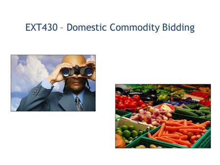 EXT430 – Domestic Commodity Bidding. 1.Vendor Procurement Process Overview 2.Access Bid Invitations (Solicitations) on the Public Procurement Documents.