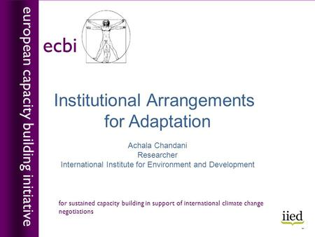 Institutional Arrangements for Adaptation Achala Chandani Researcher International Institute for Environment and Development european capacity building.