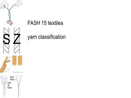 FASH 15 textiles yarn classification. yarns contribute significantly to fabric and product performance selection affects the fabric's hand, appearance,