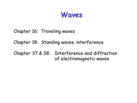 Waves Chapter 16:Traveling waves Chapter 18:Standing waves, interference Chapter 37 & 38:Interference and diffraction of electromagnetic waves.
