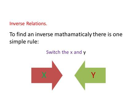 Inverse Relations. To find an inverse mathamaticaly there is one simple rule: Switch the x and y XY.