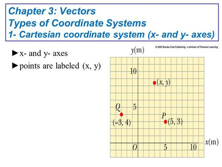 ► x- and y- axes ► points are labeled (x, y) Chapter 3: Vectors Types of Coordinate Systems 1- Cartesian coordinate system (x- and y- axes)