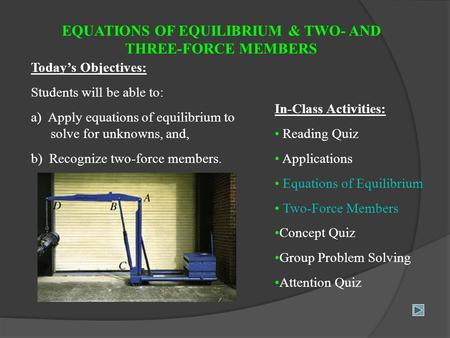 EQUATIONS OF EQUILIBRIUM & TWO- AND THREE-FORCE MEMBERS